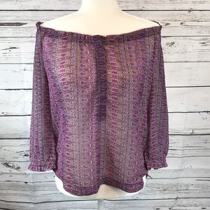 American Eagle Outfitters Tops - American Eagle- Purple off-shoulder chiffon top, S